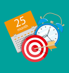 Alarm clock calendar target time management vector