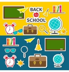 Back to school icon set green board bell alarm vector