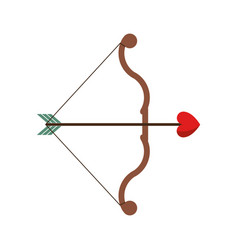 Bow and arrow heart love sign vector