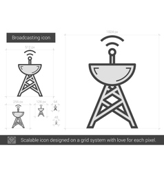 Broadcasting line icon vector