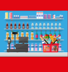 cashier counter workplace supermarket interior vector image vector image
