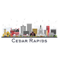 Cedar rapids iowa skyline with color buildings vector