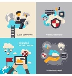 Cloud Computing Flat Set vector image