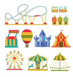 collection of attractions and amusement park vector image vector image
