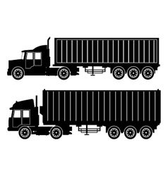 collection silhouette truck trailer container vector image
