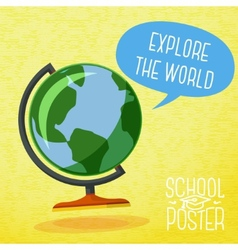 Cute school poster - globe with speech bubble and vector