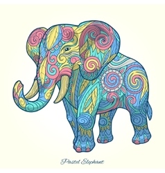 Elephant pastel color ornament ethnic vector