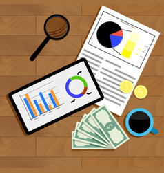 financial statistics top view vector image vector image
