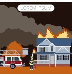 Fireman and a house2 vector