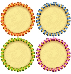 holiday circle frame set vector image vector image