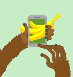 Monkey banana shoots posting to internet a photo vector