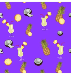 Pina colada purple seamless pattern pineapple vector