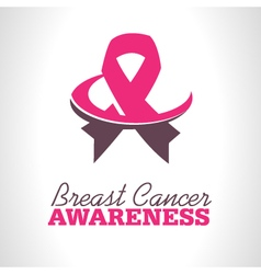 Pink Ribbon Awareness Logo Icon vector image