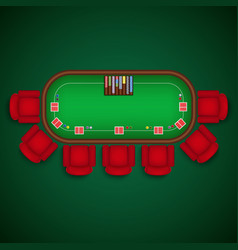 Poker table with chairs and cards chips template vector