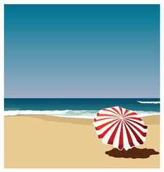 Postcard red umbrella on the beach vector