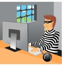 prisoner sitting in his prison cell vector image