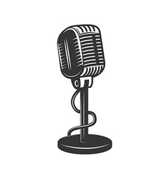Retro monochrome microphone icon vector