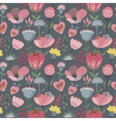 seamless pattern with flowers leaves vector image