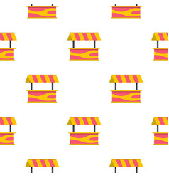 Street stall with striped awning pattern seamless vector