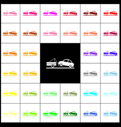 Tow truck sign felt-pen 33 colorful icons vector