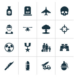 Warfare icons set collection of danger target vector