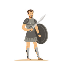 warrior character man in historical armor with vector image vector image