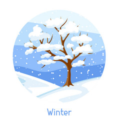Winter landscape with tree and snow seasonal vector