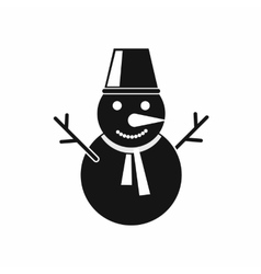 Winter snowman icon black simple style vector image