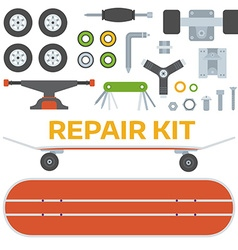 Skateboarding repairs kit vector