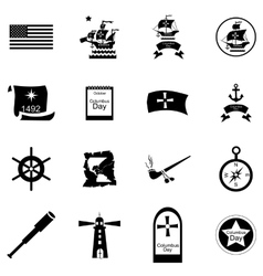 Columbus day icons set cartoon style vector