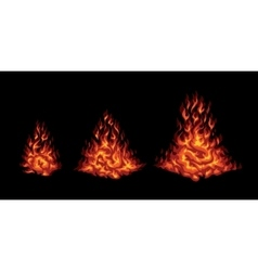 Set of red stylized fire on a black background vector image