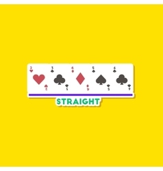 paper sticker on stylish background poker cards vector image