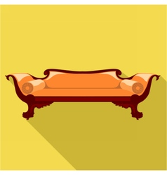 Digital orange sofa with round pillows vector image