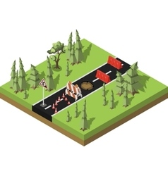 Isometric road repair vector