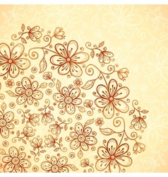 Doodle vintage flowers background vector image