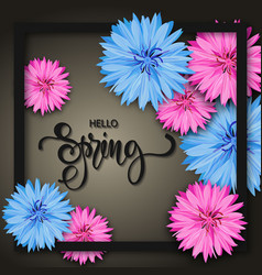 Spring background with beautiful flowers greeting vector