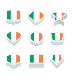 Ireland flags icons and button set nine styles vector