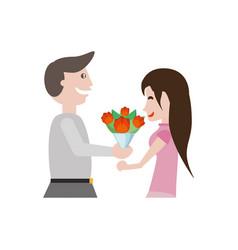 couple romantic beauty flowers image vector image