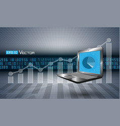 computer with graph vector image
