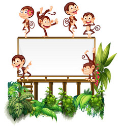 Frame template with little monkeys vector