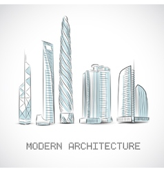 Buildings collection of modern skyscrapers vector