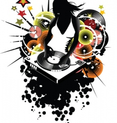 Girl dj vector