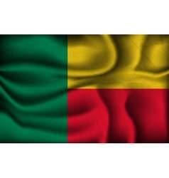 Crumpled flag of benin on a light background vector