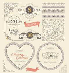 Ornate frames vintage lace labels element vector