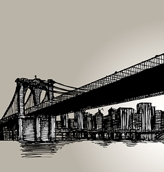 New york brooklyn bridge hand drawing vector
