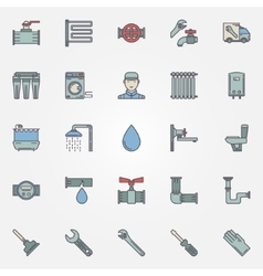 Plumbing colorful icons vector