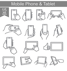 Icons set of mobile phone and tablet in line style vector