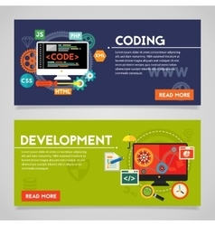 Development and coding concept banners vector