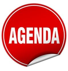 Agenda round red sticker isolated on white vector
