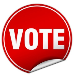 Vote round red sticker isolated on white vector
